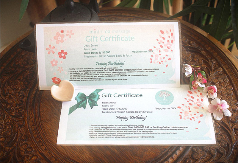 Two gift certificates